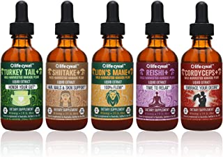 Life Cykel Professional BioHacker Mushroom Set - Turkey Tail, Lions Mane, Shiitake, Reishi and Cordyceps Mushrooms with Australian Wild Harvested Kakadu Plum Liquid Extract - 2 fl oz/each (Set of 5)