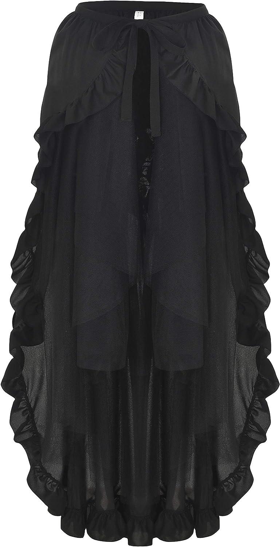 Alivila.Y Fashion Womens Steampunk Gothic Skirt Victorian Ruffles Pirate Skirts Wrap Cape
