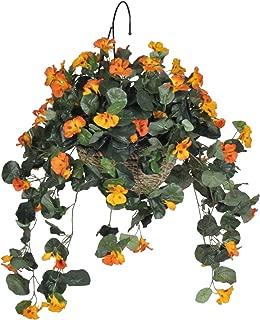 House of Silk Flowers Artificial Orange Yellow Nasturtium Hanging Basket