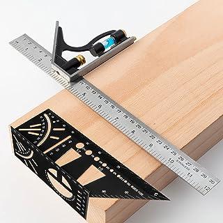 EZARC Angle Ruler Set, 3D Mitre Woodworking Square Ruler, Carpenter Multifunction Angle Metric Measure Tool, Combination S...