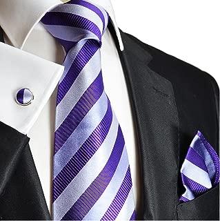 Necktie, Pocket Square and Cufflinks 100% Silk Silver Purple