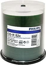 Philips CD-R 52x Duplication Grade White Inkjet Printable to Stacking Ring 100pk Cake Box