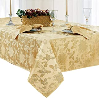 Newbridge Christmas Carol Damask No Iron Soil Release Holiday Tablecloth, 70 Inch Round, Gold