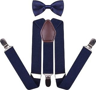 YJDS Men's Boys' Leather Suspenders and Pre Tied Bowtie Set