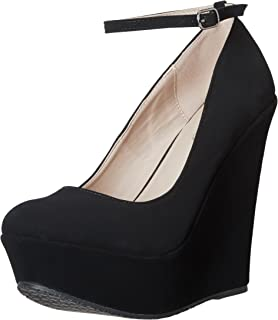 wedge court shoes with ankle strap