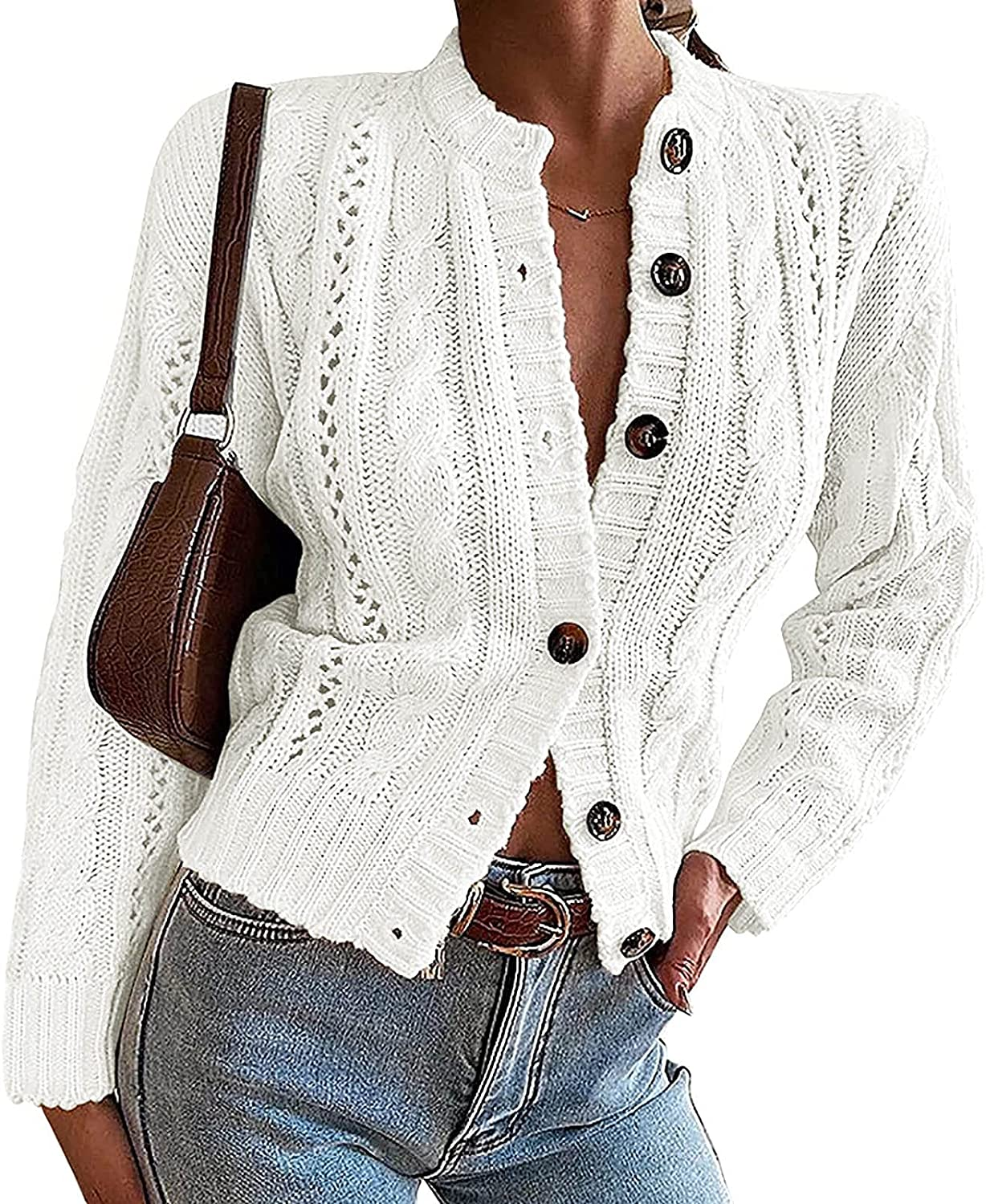 Fashion Cardigan for Women Casual Solid Color Button Sweater Jacket Long Sleeve Slim Open Front Coats
