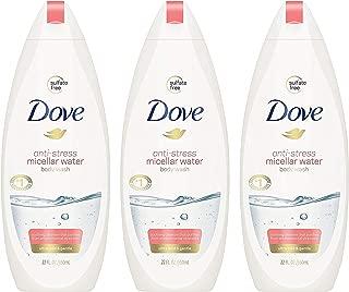 Dove Body Wash - Anti-Stress Micellar Water - Ultra Mild & Gentle - Sulfate Free - Net Wt. 22 FL OZ (650 mL) Per Bottle - Pack of 3 Bottles