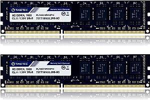 Timetec 16GB KIT(2x8GB) DDR3L / DDR3 1600MHz (DDR3L-1600) PC3L-12800 / PC3-12800 Non-ECC Unbuffered 1.35V/1.5V CL11 2Rx8 Dual Rank 240 Pin UDIMM Desktop PC Computer Memory RAM(SDRAM) Module Upgrade
