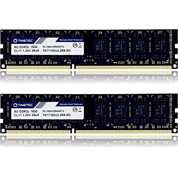 Timetec Hynix IC 16GB KIT (2x8GB) DDR3L / DDR3 1600MHz PC3L-12800 / PC3-12800 Non-ECC Unbuffered 1.35V / 1.5V CL11 2Rx8 Dual Rank 240 Pin UDIMM Desktop Memory Ram Module Upgrade (16GB KIT(2x8GB))