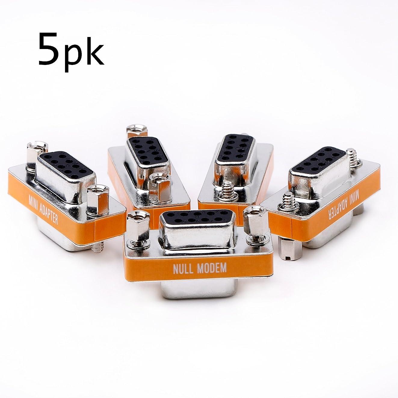 DB9 null modem female to female slimline data transfer serial port adapter 5 Pack