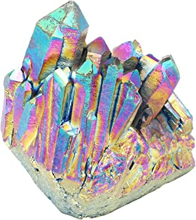 PESOENTH Natural Rainbow Titanium Coated Crystal Quartz Cluster Geode Druzy Home Decoration Gemstone Specimen 1.85-3.5''(Rainbow Cluster)