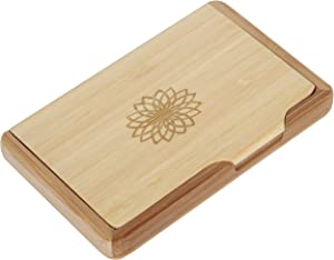 Geometric Flower Bamboo Business Card Holder with Laser Engraved Design - Business Card Keeper - Holds Up to 10 Cards - Lightweight Calling Card Case
