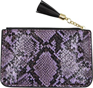 Suillty Women Snakeskin Leather Coin Purse Credit Card Holder Wallet Pouch with Key Chain Tassel Zip