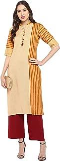 Janasya Women's Yellow Cotton Kurta With Palazzo