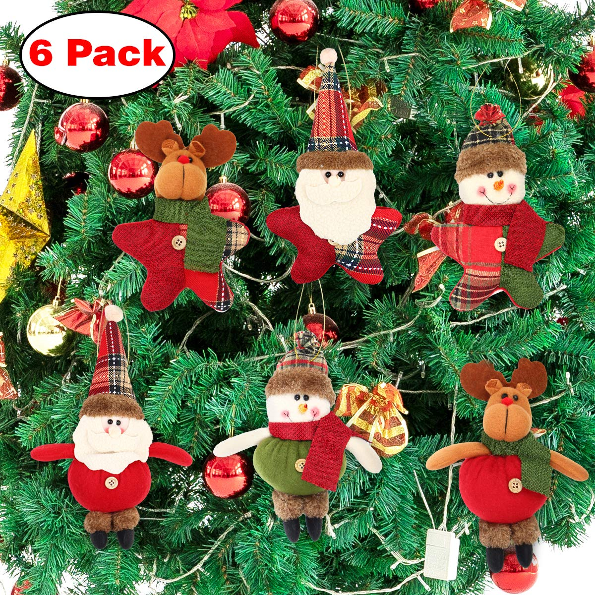 Image of Cute Christmas Character Ornaments - Set of 6