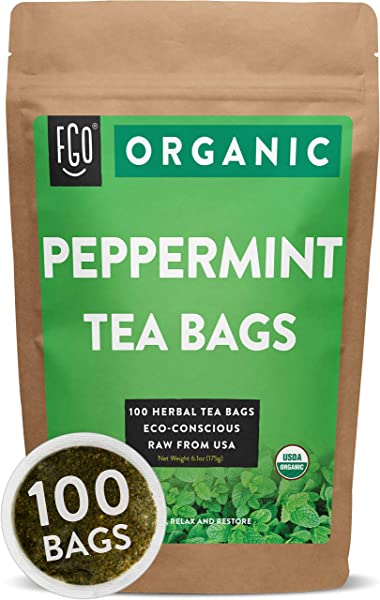 Organic Peppermint Tea Bags 100 Tea Bags Eco Conscious Tea Bags In Foil Lined Kraft Pouch Raw From USA By FGO