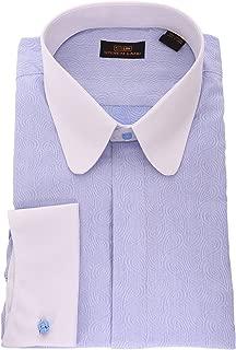 Blue Paisley Contrast Club Collar French Cuff Cotton Dress Shirt