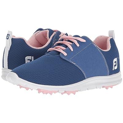 FootJoy Enjoy Spikeless Mesh Saddle (Blue/Coral Trim/Pink) Women
