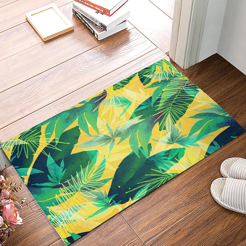 Findamy Non-Slip Indoor Door Mat Entrance Rug Rectangle Absorbent Moisture Floor Carpet for Tropical Plants Leaves, Summer Feeling Doormat 20x32 inch