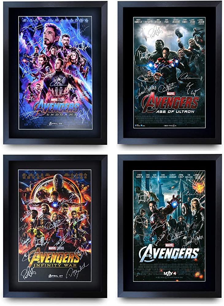 Hwc trading a3 fr avengers all 4 movie poster cast autografato