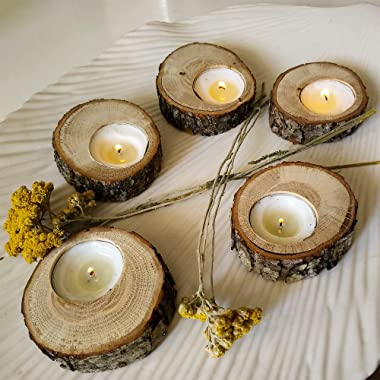 Sarap Tea Light Candle Holders - Pack of 10 Votive Wood Tealight Holder - Centerpieces for Tables - Rustic Wedding Decor and