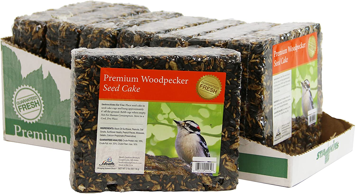 Heath Outdoor Products SC-32-8 Premium Woodpecker 2-Pound Seed Cake, Case of 8