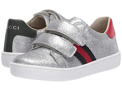 Gucci Kids New Ace V.L. Sneakers (Toddler) (Argento/Marrone) Girl