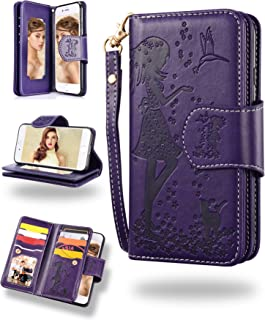 FLYEE iPhone 8 Case, iPhone 7 Wallet Case, 9 Card Slot PU Leather Magnetic Protective Cover with Mirror and Detachable Wrist Strap for iPhone7 iPhone8 4.7 Inch Purple