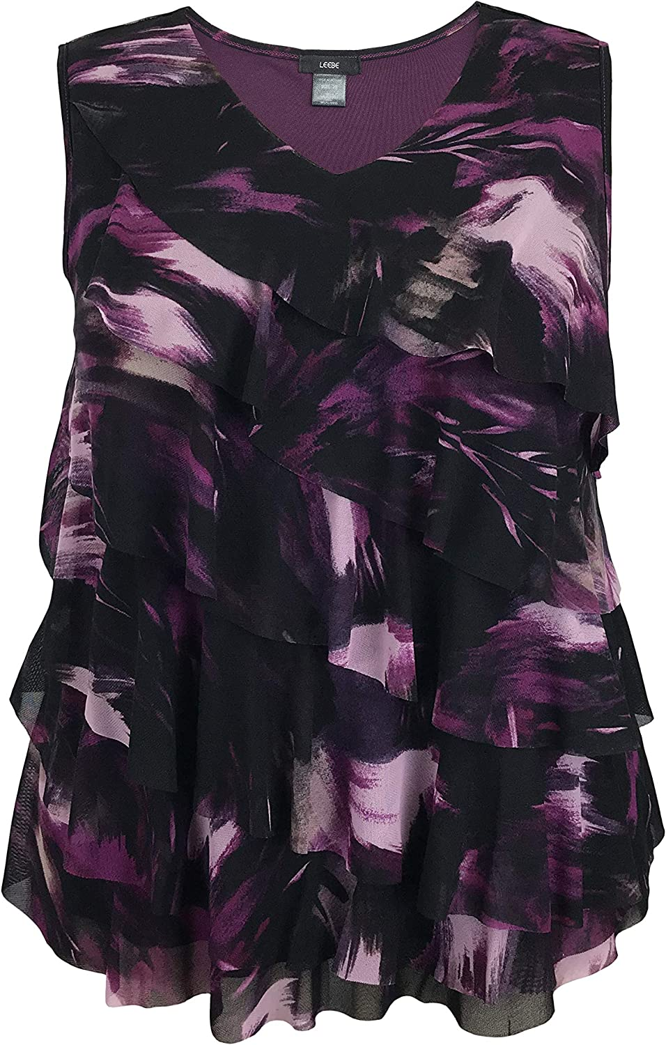 LEEBE Women and Plus Size Printed Mesh Ruffle Top (Small-5X)