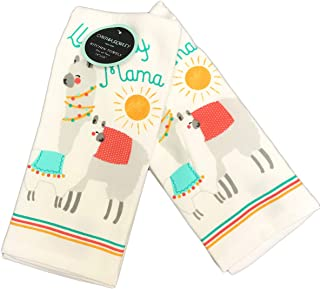 Llove My Mama Cute Llama Play on Words Featuring a Mom & Baby Llama Set of Two Decorative Plush Kitchen Guest Hand Towels 18