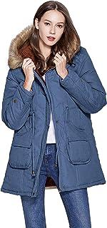 معطف فريبرانس للشتاء للنساء جاكيت بقبعة مع غطاء رأس مبطن بالفرو الصناعي باللون الأزرق
