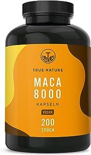 TRUE NATURE® Maca 8000 Gold – 200 vegane Kapseln – 8.000mg PRO Kapsel (400mg..
