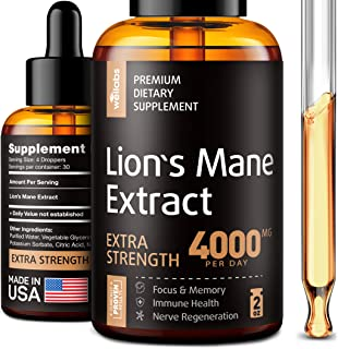 Lion's Mane Extract - Lion's Mane Mushroom Supplement for Immune Support - Lion's Mane Supplement - Made in USA - Lion's M...