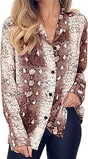 Womens Long Sleeve V Neck Snake Print Shirts Button Down Chiffon Blouse Tops
