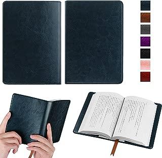 【Fintie】オリジナル高級PUレザー ブックカバー 手帳型 軽量 耐久性 文庫判サイズ カードポケット付き しおり付き シンプルなデザイン (ネイビー)