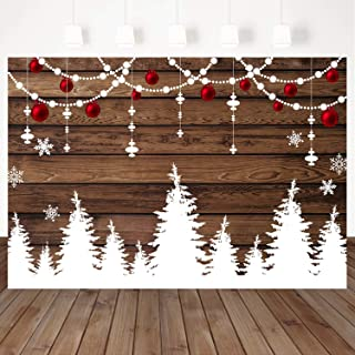 Mocsicka Wood Theme Winter Backdrop String Lights and Snowflake Photography Background Winter Christmas Party Banner Decoration 7X5ft Vinyl Wooden Plank Studio Photo Background