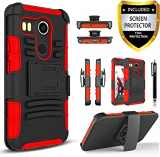 LG Nexus 5X Case, Combo Rugged Shell Cover Holster with Built-in Kickstand and Holster Locking Belt Clip + Circle(TM) Stylus Touch Screen Pen and Screen Protector Red