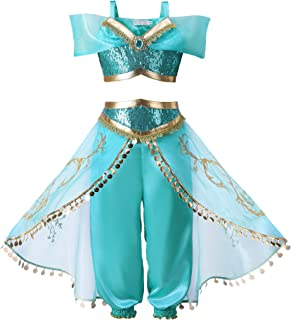 Girls Princess Dress Up Costume Teal & Gold Outfit