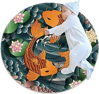 Soft Round Area Rug 80x80cm/31.5x31.5IN Anti-Slip Floor Circle Mats Absorbent Memory Sponge Standing Mat,Japan carp koi Fish