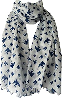 426d870bfd716 White Scarf with Navy Blue Bird Print , Ladies Fair Trade Shawl Wrap ,  Birds Cotton