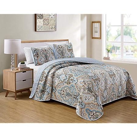 Smart Linen Bedspread Set Damask Pattern Floral Blue Coffee Taupe Burgundy New # 3562 (Blue, Full/Queen)
