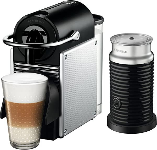 Nespresso EN125SAE Original Espresso Machine Bundle With Aeroccino Milk Frother By De Longhi Aluminum
