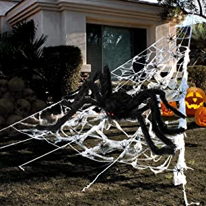 Halloween Decorations Outdoor 295'' Halloween Spider Web Decor 59'' Scary Giant Spider 100 Small Fake Spiders 40 g Stretch Cobwebs Spider Webs Halloween Decorations for Outside Yard Garden Lawn Party