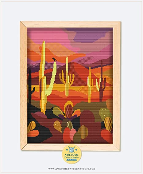 Embroidery Pattern Kit Arches National Park K474 Counted Cross Stitch KIT#2 Fabrick and 4 Printed Color Schemes Inside Needles Threads