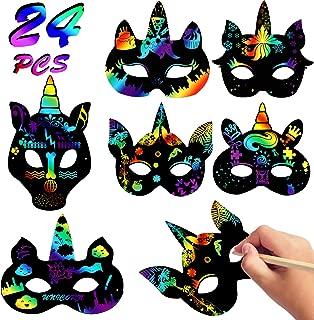 24 Sets Magic Scratch Art DIY Masks Rainbow Scratch Paper Unicorn Masks Unicorn Party Favors Unicorn Craft Kits Birthday Party Supplies Face Masks for Kids Boys Girls