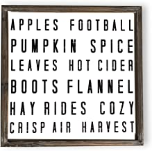 Sweet Water Decor Fall Words Wood Sign Fall Harvest Home Decor Rustic Farmhouse Wooden Wall Art Autumn Cottage Country Decor Pumpkin Spice Leaves Harvest Football