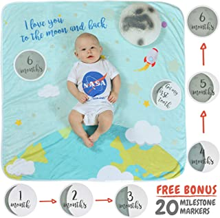 Baby Milestone Blanket w/ 20 Milestone Moments Props for Newborn Baby Boy & Baby Girl is a Baby Registry Must Have & Baby Shower Gift | Organic Thick Fleece Blanket Backdrop for Photoshoot