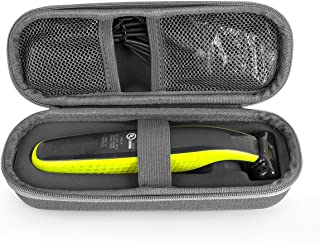 QSHAVE Hard Travel Case For Philips Norelco OneBlade hybrid electric trimmer shaver, QP2520 QP2570 Organizer Carrying Bag Cover Storage (Gray)