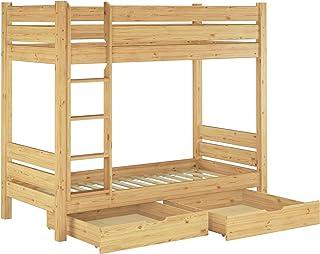 Lit superposé pour Adultes en pin Massif très Stable 90x200 avec sommiers et 2 tiroirs 60.16-09S2