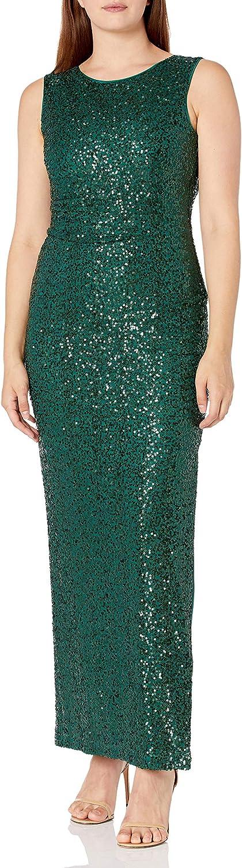 Jessica Howard Women's Extended Shoulder Empire Waist Drape Back Sequin Gown